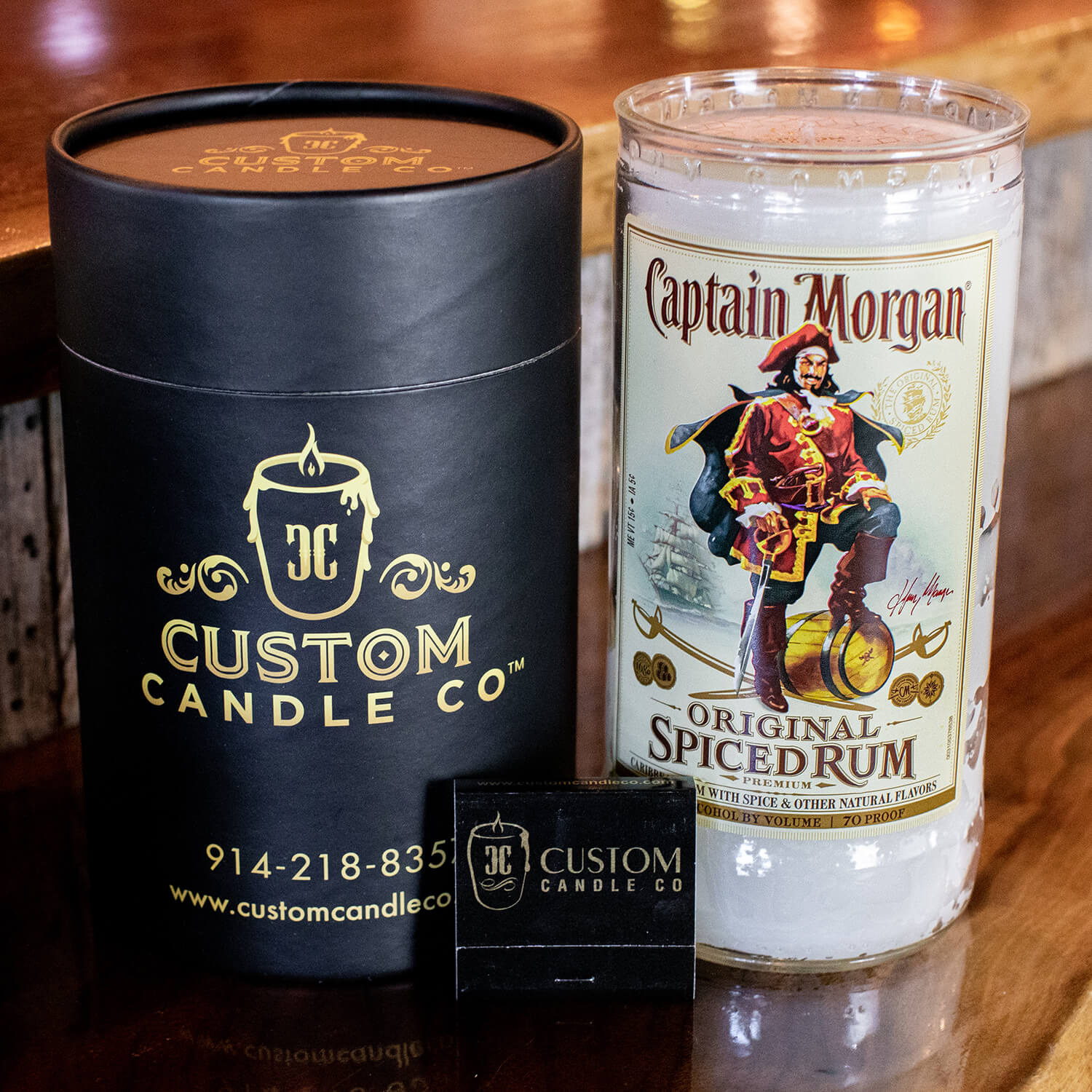 Spiced rum scented candle bottled up fragrance 50hrs burn gift boxed