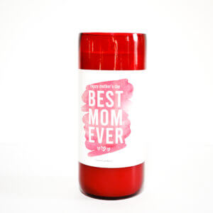 Best Mom Ever Red Recycled Wine Bottle Front View