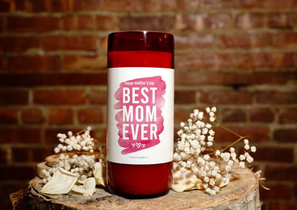 Best Mom Ever Red Recycled Wine Bottle Front View with brick background
