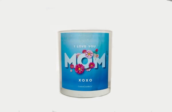I Love You Mom Quote Candle in white and blue tumbler