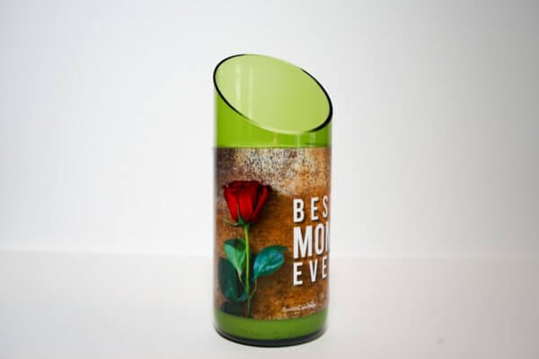 Best Mom Ever in green curved cut glass side view