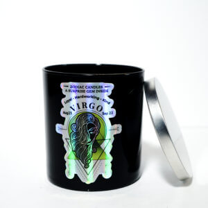 The Zodiac: Virgo Candle front view with silver lid