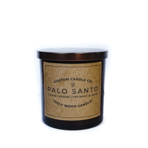 Front view of Palo Santo Candle with Lid on