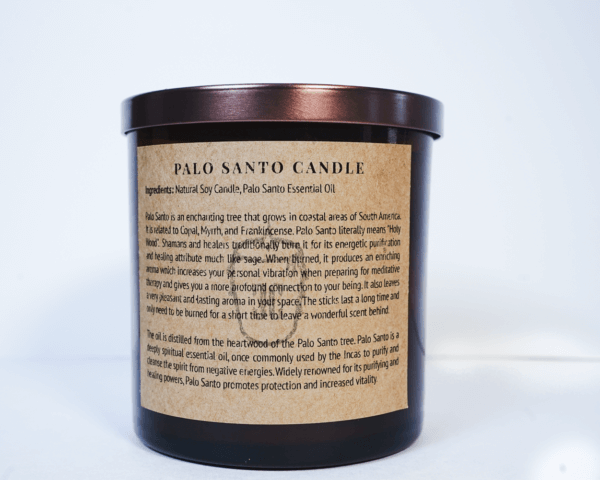 Palo Santo candle back with written instructions