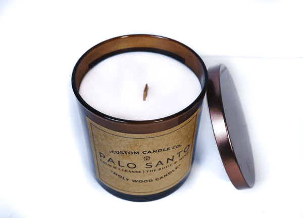 Palo Santo candle with lid on right side (top view)