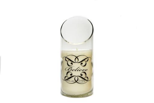 Believe Polished Wine Bottle Candle