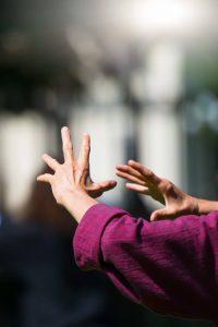 Practicing tai chi qi gong