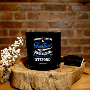 Black Tumbler with quote about stepdads