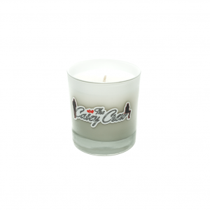 Casey Crew White Candle with Silver Text
