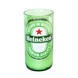 Green glass heineken front view on white background
