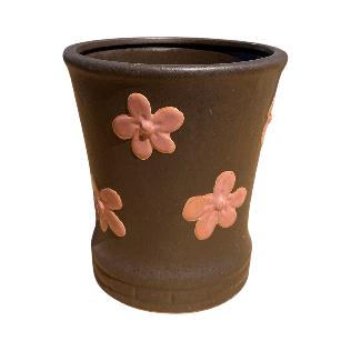 Brown Round Pot with Pink Flower Design