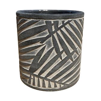 Dark Gray Pot with Leaf Design
