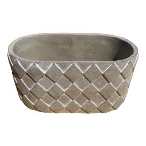 Gray Oblong Pot with Square Design