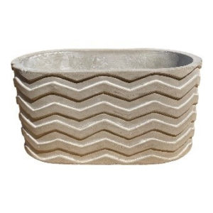 Gray Oblong Pot with Wave Designed