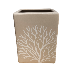 Gray Rectangular Pot with white Lines