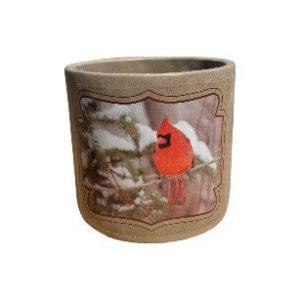Gray Round Pot with Cardinal Design