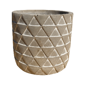 Gray Round Pot with Triangle Design