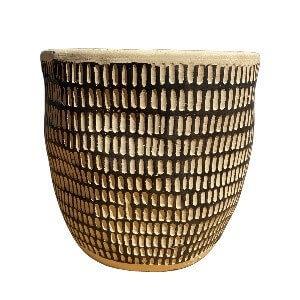 Gray and Black Round Designed Pot