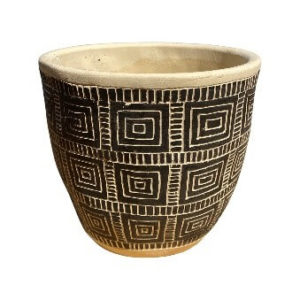 Gray and Black Round Pot with Square Design