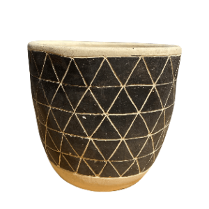 Gray and Black Round Pot with Triangle Design