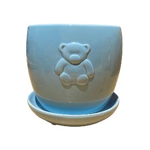 Light Blue Round Jar with Bear Design