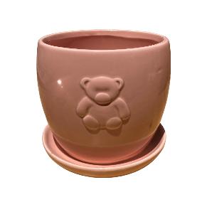 Light Pink Round Jar with Bear Design