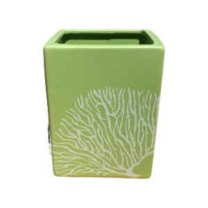 Lime Green Rectangular Pot with White Lines