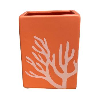 Orange Rectangular Pot with White Lines