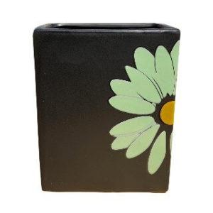 Rectangular Black Pot with Green Flower Design