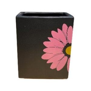 Rectangular Black Pot with Pink Flower Design