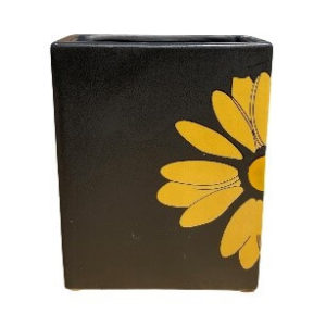 Rectangular Black Pot with Yellow Flower Design