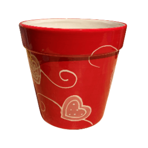 Red Round Pot with Heart Design