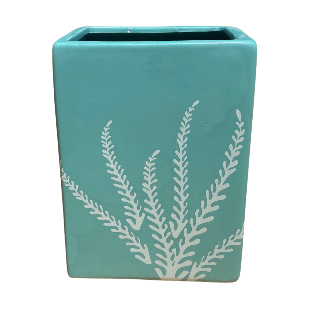 Turquoise Rectangular Pot with White Lines