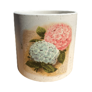 White Pot with 2 Flower Design