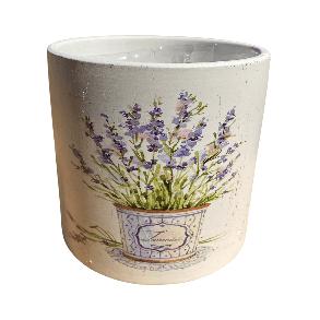 White Pot with Lavender Plant Design