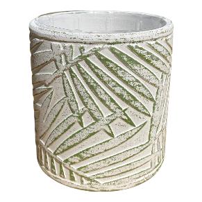 White Pot with Leaf Design