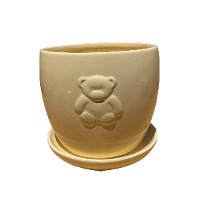 Yellow Round Jar with Bear Design