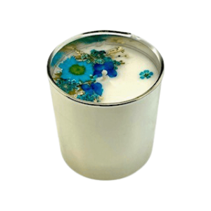 Silver Floral Candle - Blue Theme, Floral Scent 1