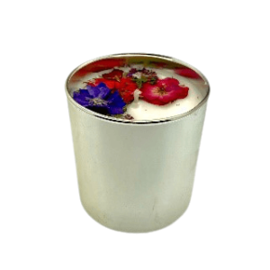 Silver Floral Candle - Red Theme, Floral Scent 1